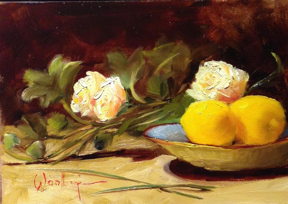 """""""Two Lemons and White Roses"""" original fine art by Dorothy Woolbright"""