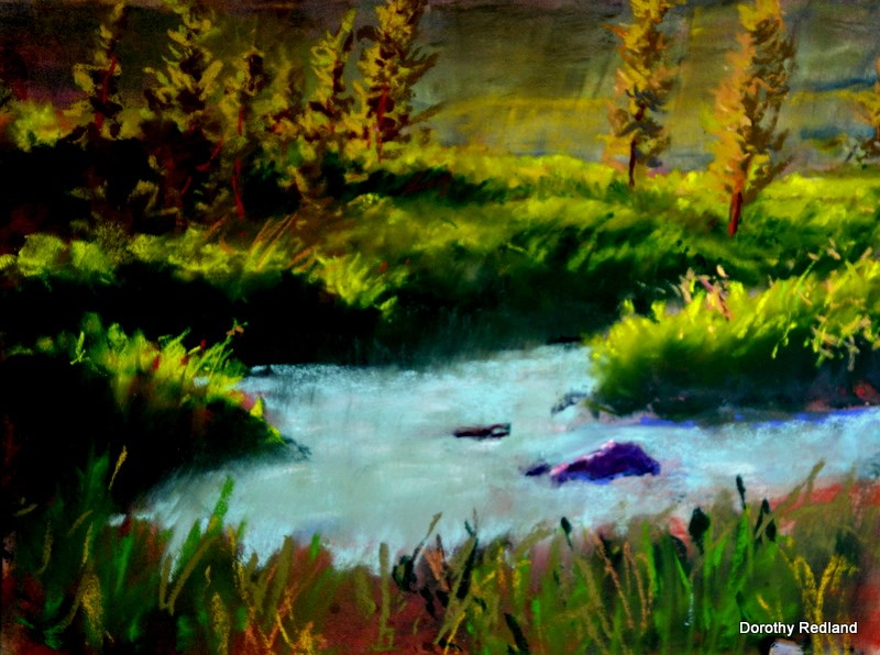"""Last light on Doyle creek"" original fine art by Dorothy Redland"