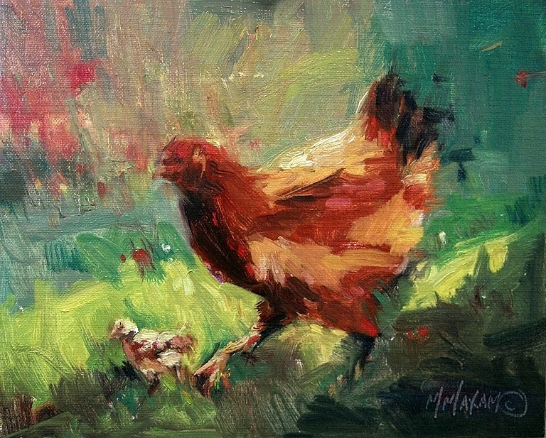 """First Day Out- hens and chicks"" original fine art by Mary Maxam"