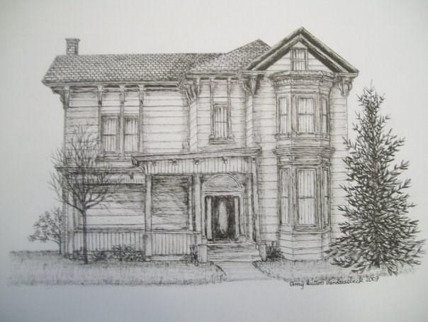 """Starlight House of Baker City"" original fine art by Amy VanGaasbeck"