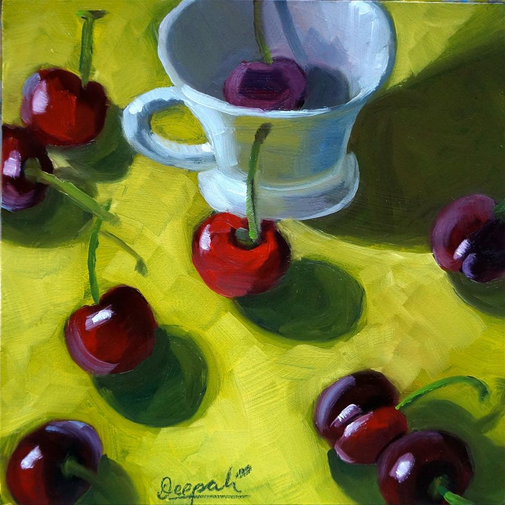 """Cherries and cup"" original fine art by Dipali Rabadiya"