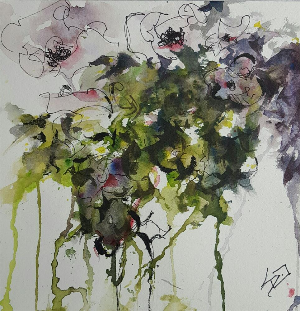 """Abstract Floral Watercolor 1"" original fine art by Sue Dion"