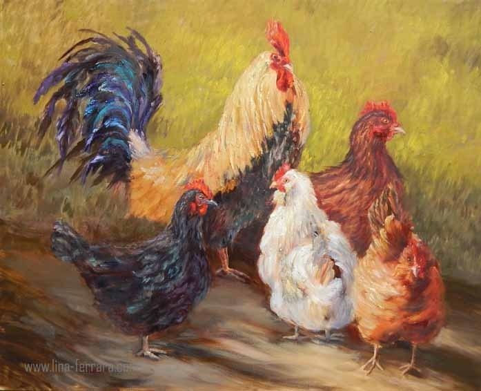 """Rules the Roost"" original fine art by Lina Ferrara"