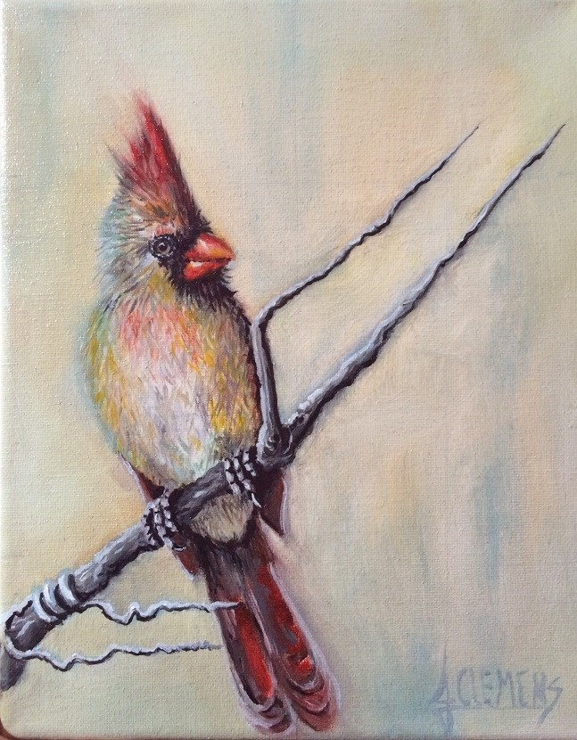 """Female Cardinal 2"" original fine art by Jolynn Clemens"