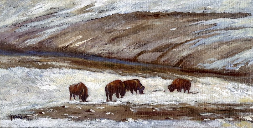 """ORIGINAL PAINTING SNOW BISON IN PAINT BANK"" original fine art by Sue Furrow"