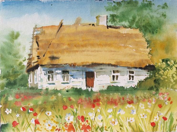"""""""white_cottage"""" original fine art by Beata Musial-Tomaszewska"""