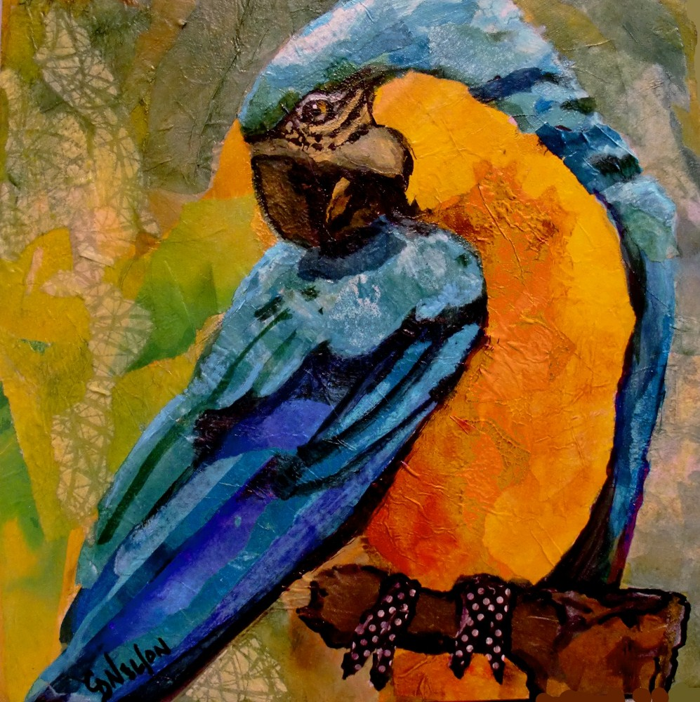 """""""BLUE AND GOLD"""" 12037, torn paper collage macaw parrot © Carol Nelson Fine Art original fine art by Carol Nelson"""