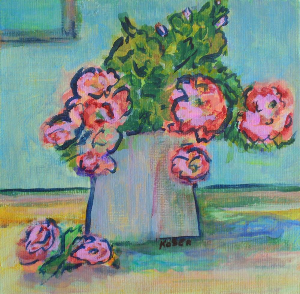 """COTTAGE ROSES"" original fine art by Mary Ellen Koser"
