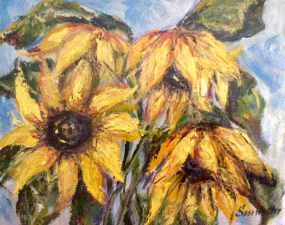 """Sunflowers painting"" original fine art by Sonia von Walter"