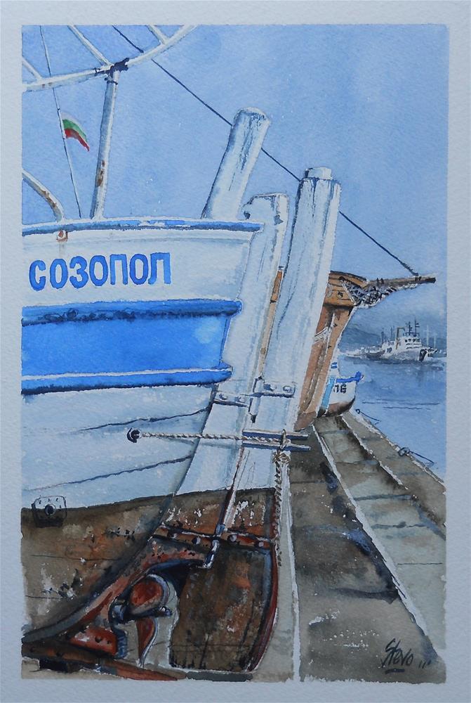 """""""Sozopol Boats"""" original fine art by Martin Stephenson"""