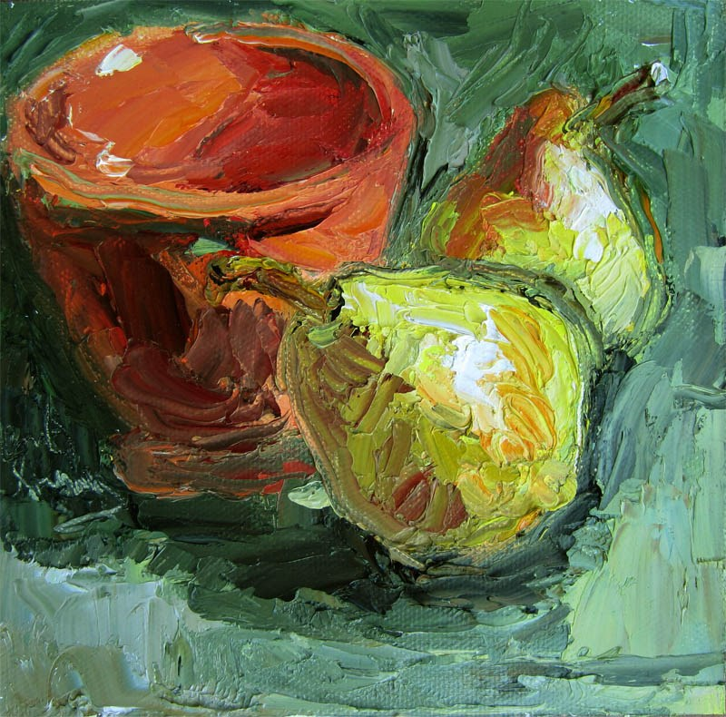 """Pair of Pears in Persimmon Bowl"" original fine art by Carol Steinberg"