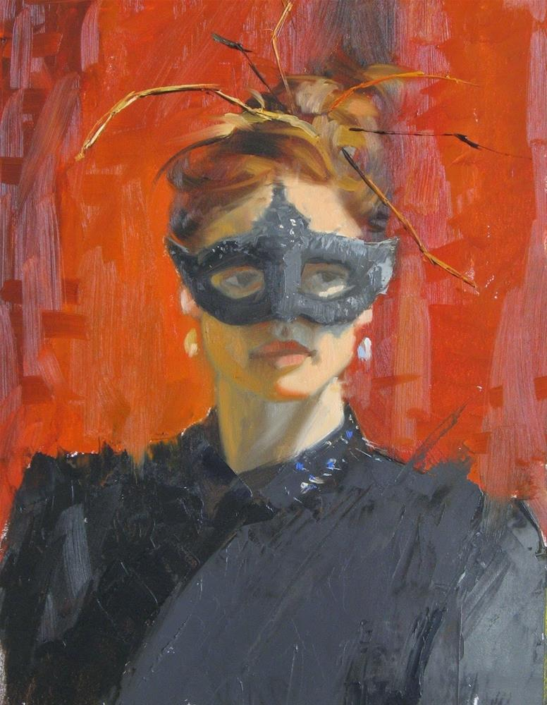 """Masked Twiggy  11 x 14  oil"" original fine art by Claudia Hammer"