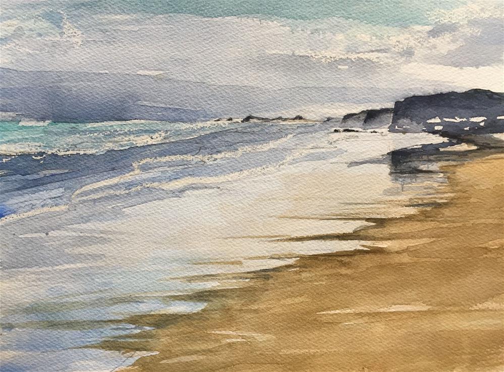 """BEACH WITH CLIFFS"" original fine art by Ferran Llagostera"