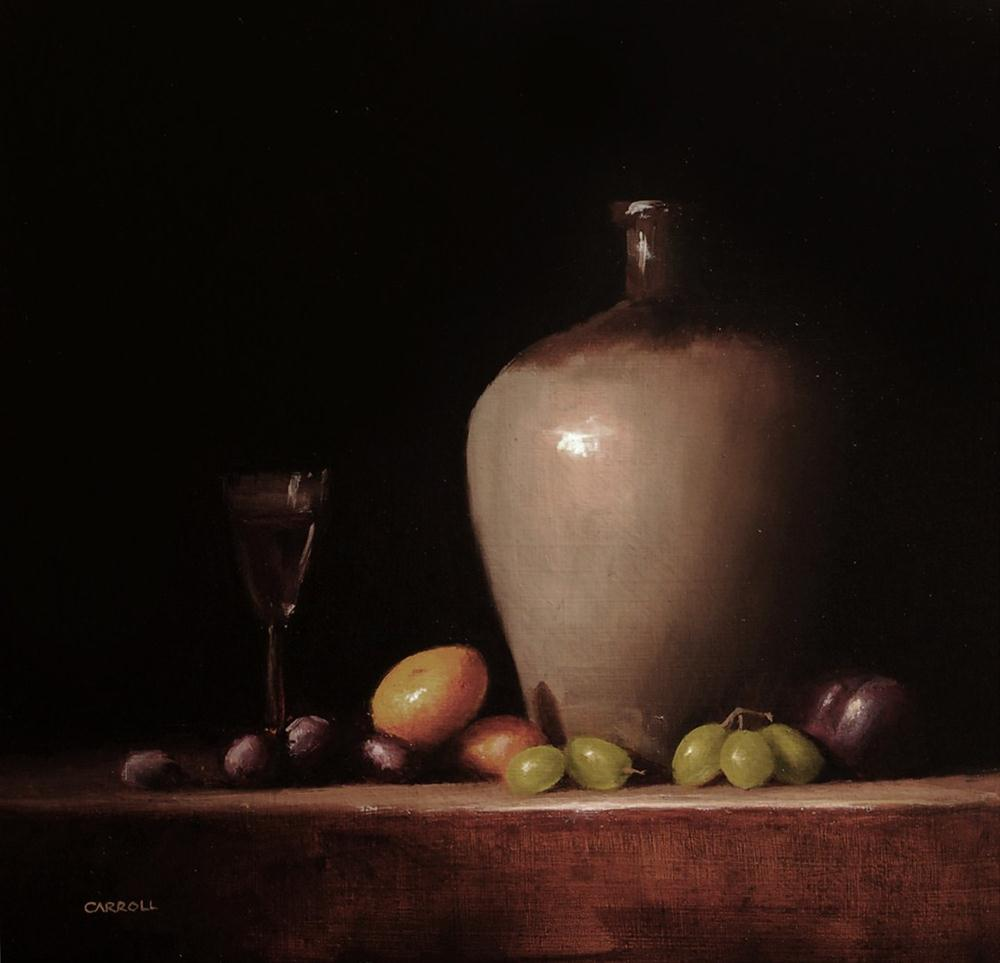 """Jar with Glass of Wine"" original fine art by Neil Carroll"