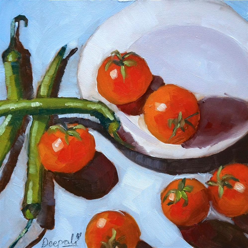 """Chilies with tomatoes"" original fine art by Dipali Rabadiya"