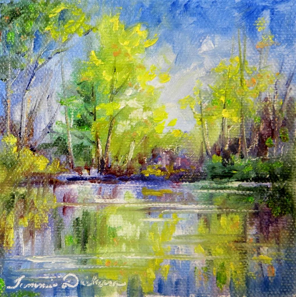 """Pond in Spring - miniature"" original fine art by Tammie Dickerson"