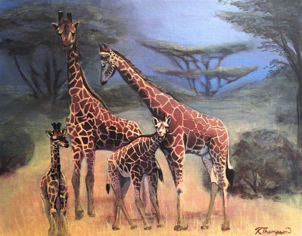 """Gerner Giraffes"" original fine art by Rachel Thompson"