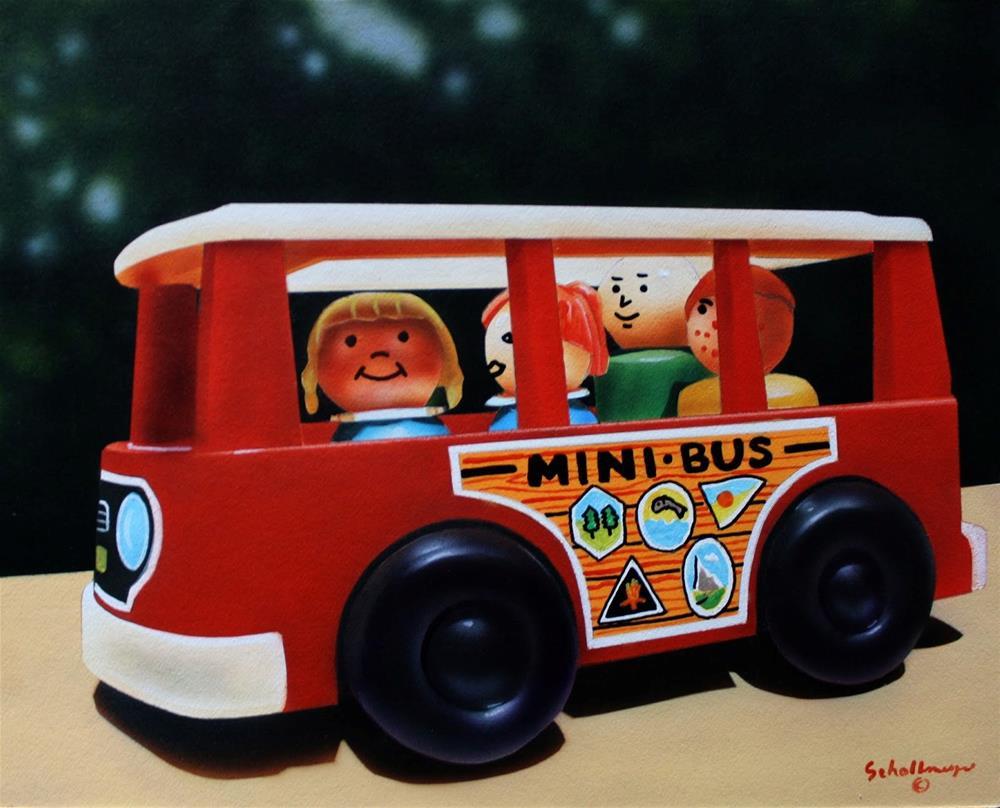 """""""Little People in Mini-Bus"""" original fine art by Fred Schollmeyer"""