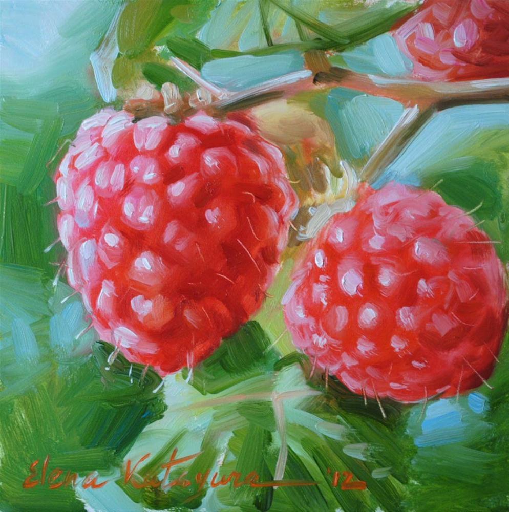 """""""Raspberry Twig"""" original fine art by Elena Katsyura"""