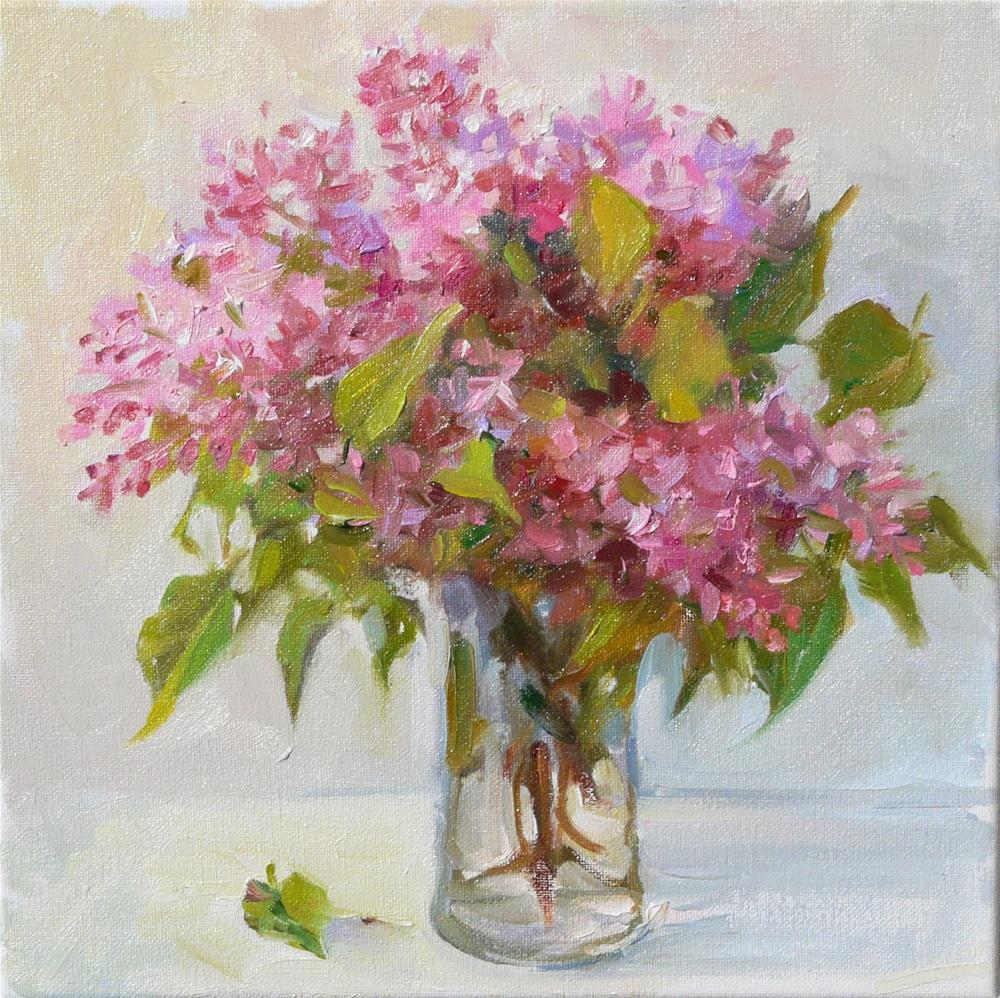 """Garden Lilacs,still life,oil on canvas,12x12,price$375"" original fine art by Joy Olney"