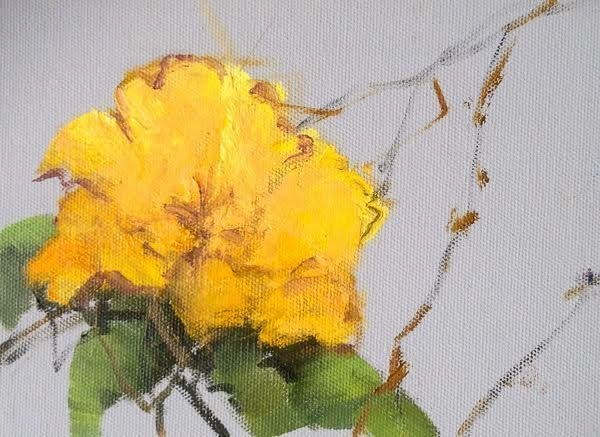 """Still Life Floral Painting, Flower Art Yellow Blossom I by Colorado Artist Susan Fowler"" original fine art by Susan Fowler"