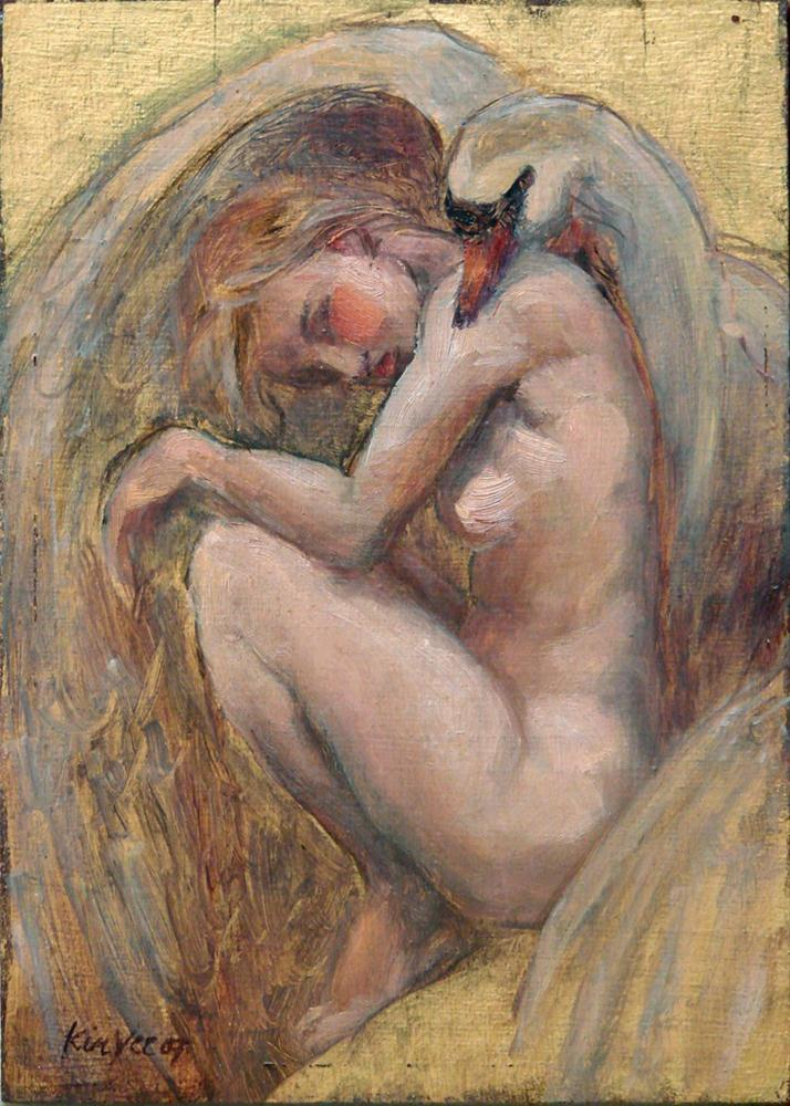 """Leda and swan"" original fine art by Myriam Kin-Yee"