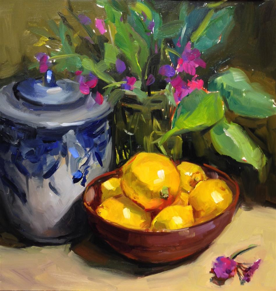 """The Ginger jar and Lemons"" original fine art by Laurie Johnson Lepkowska"