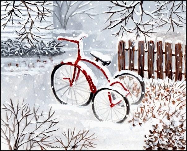 """The Old Red Bike"" original fine art by Patricia Ann Rizzo"