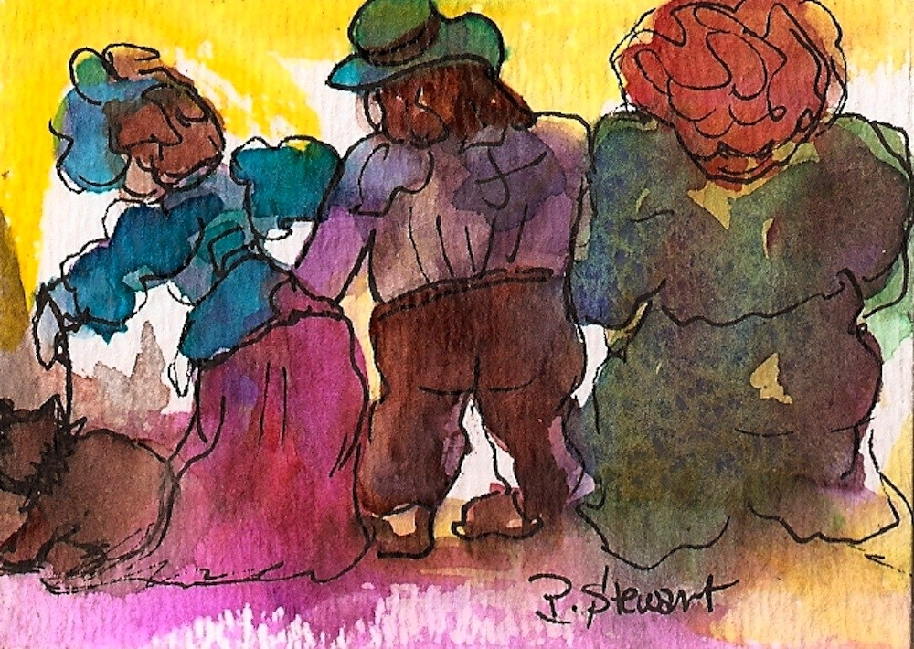 """ACEO Walking the Dog"" original fine art by Penny Lee StewArt"