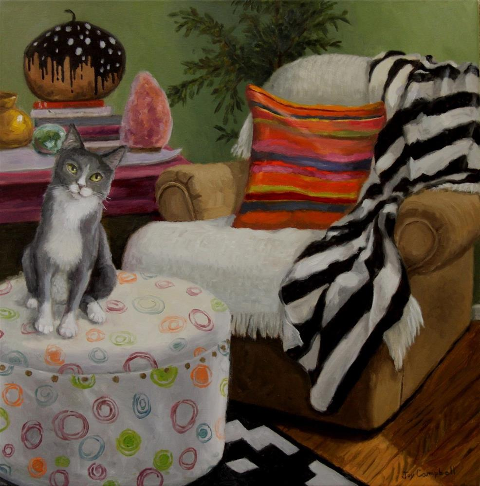 """Cat on a Poof"" original fine art by Joy Campbell"