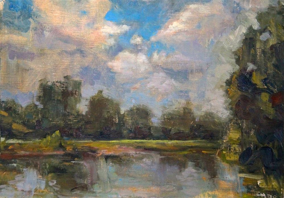 """Summer's Lake"" original fine art by Linda Dunbar"