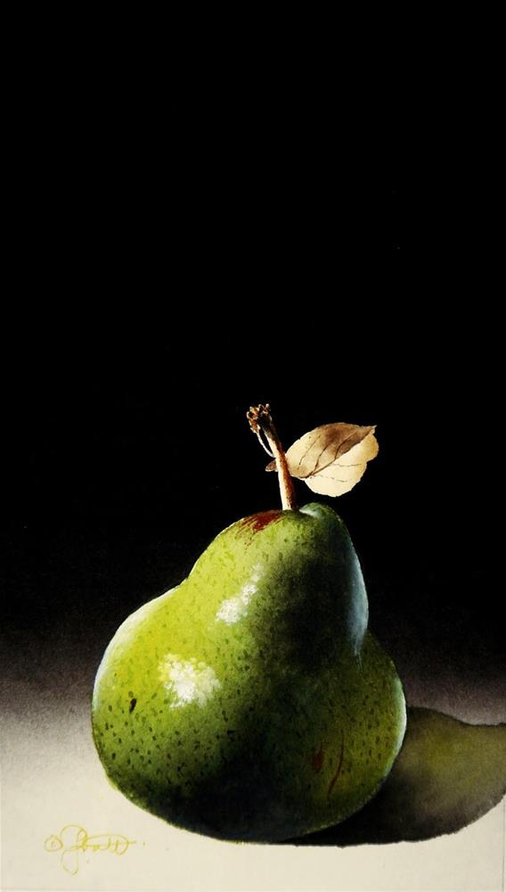 """""""Pear with Leaf"""" original fine art by Jacqueline Gnott, TWSA, WHS"""