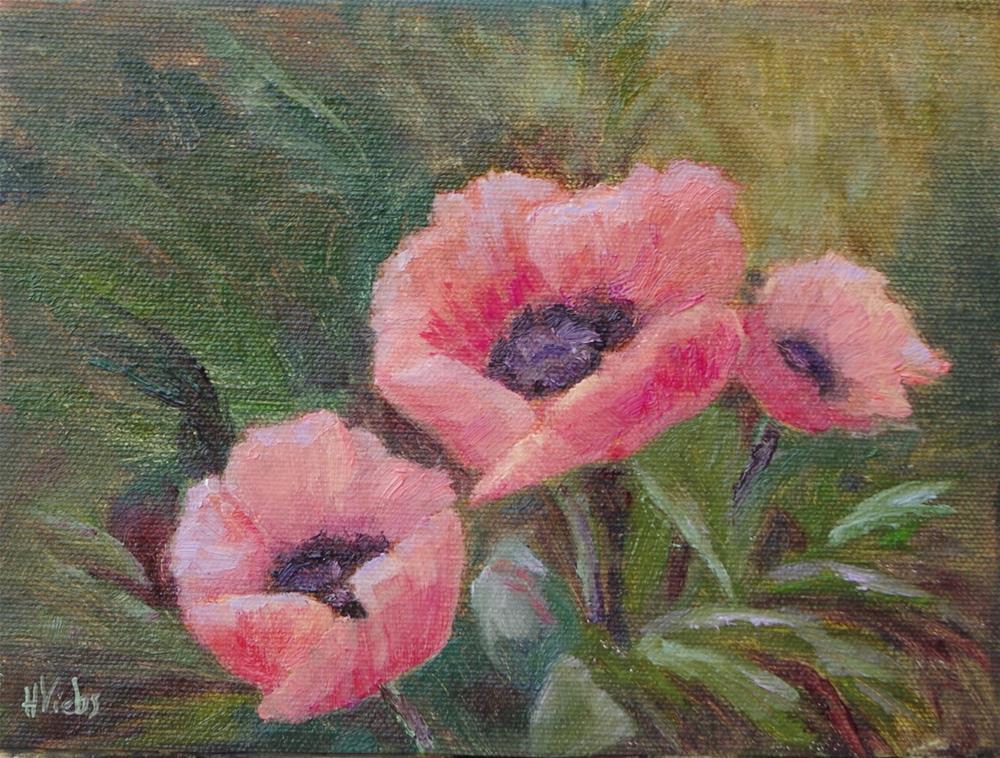 """Poppies Three 2015"" original fine art by Helen Viebrock Hamel"