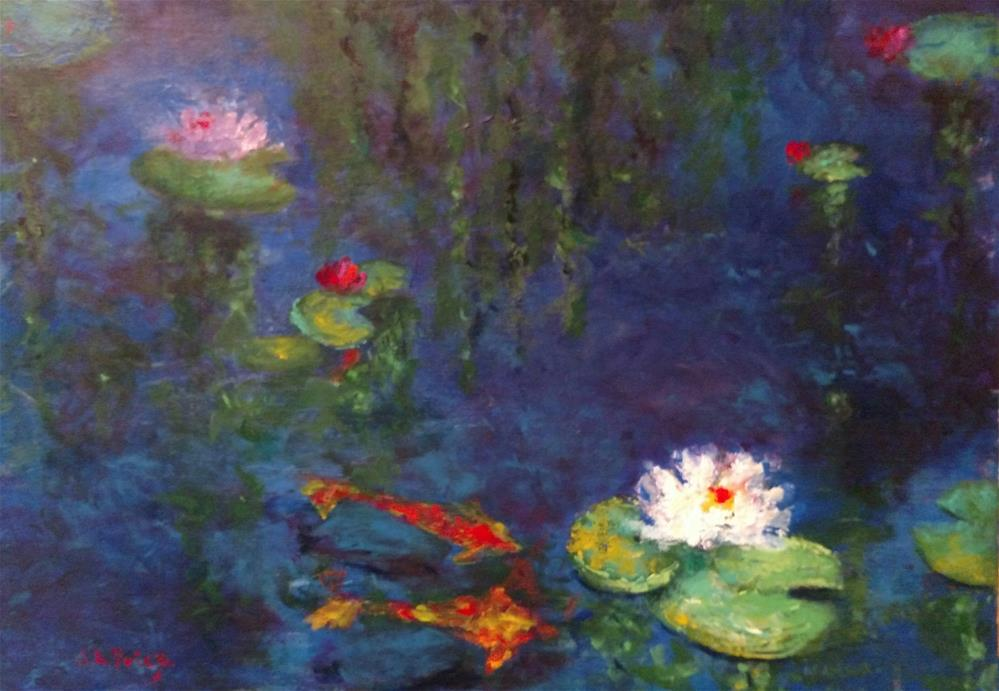"""Aislin's Koi and Water Lilies"" original fine art by S. Lynne Price"