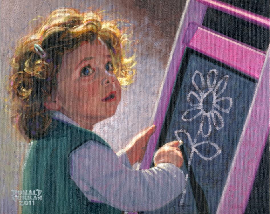 """The Budding Artist"" original fine art by Donald Curran"