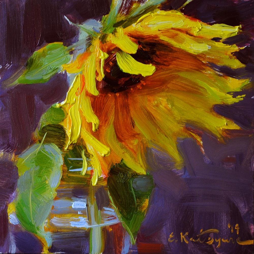 """August Sunflower"" original fine art by Elena Katsyura"