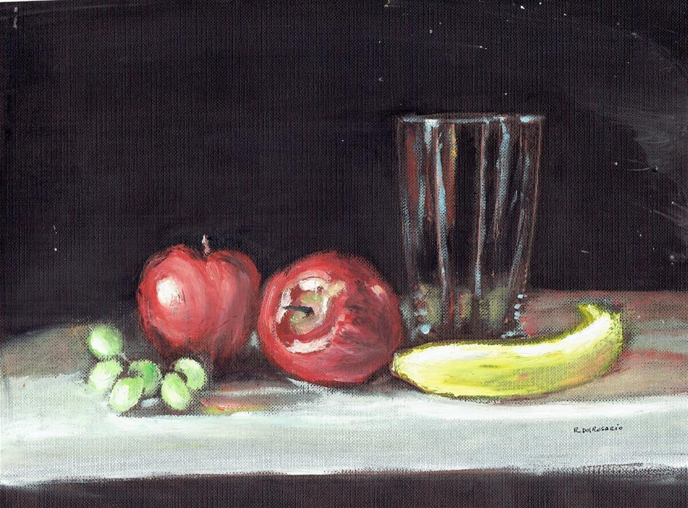 """""""Fruits On My Table (10 x 8 oil on canvas sheet - no frame)"""" original fine art by Ramon DelRosario"""