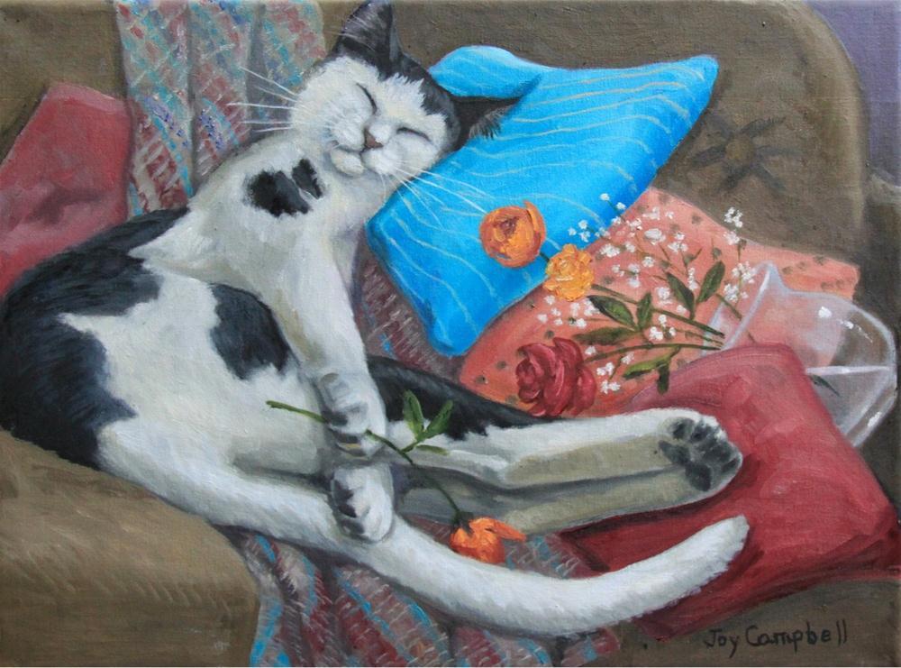 """Mischief Sleeps"" original fine art by Joy Campbell"