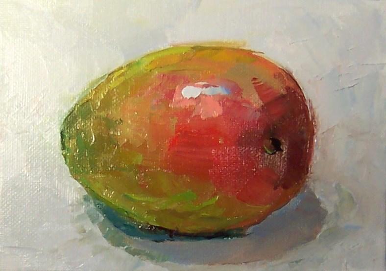 """Mango,still life,oil on canvas,5x7,price$175"" original fine art by Joy Olney"
