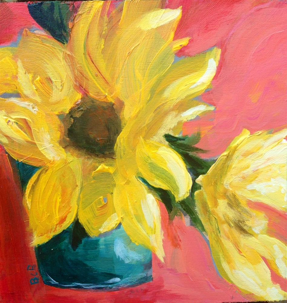 """Sunflowers with Lisa"" original fine art by Beth Carrington Brown"