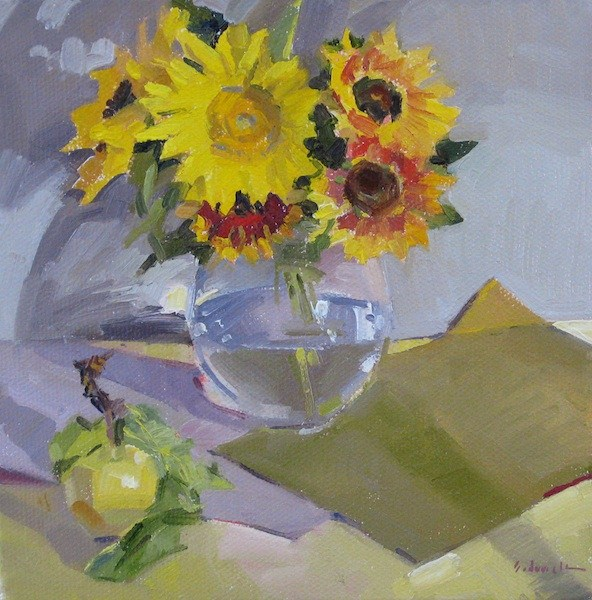 """A Sunny Mix flower floral sunflower art original oil painting still life"" original fine art by Sarah Sedwick"