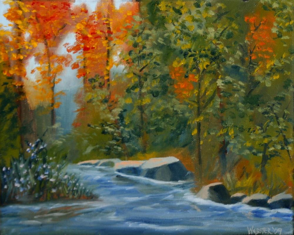 """Mark Webster - Autumn Forest Creek Landscape Oil Painting"" original fine art by Mark Webster"