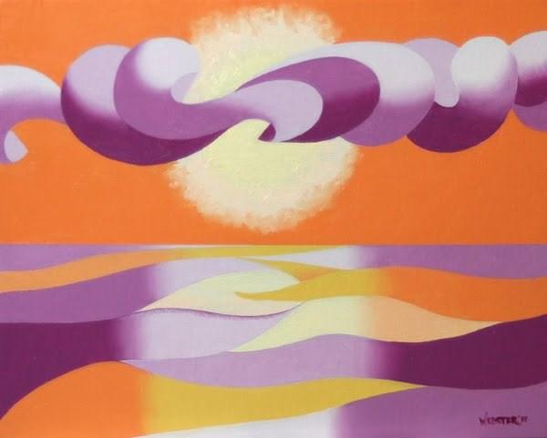 """Mark Webster - Abstract Geometric Landscape Ocean Sunset Oil Painting"" original fine art by Mark Webster"