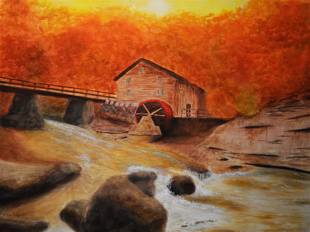 """Autumn Mill"" original fine art by Ken Figurski"