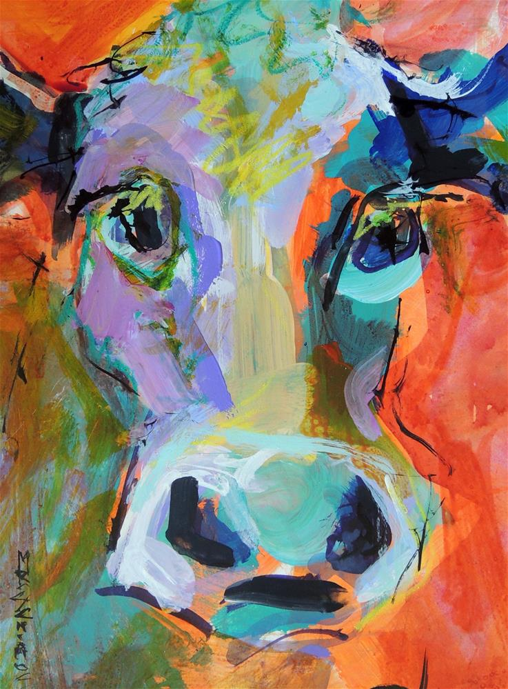 """""""Another Colorful Cow"""" original fine art by Mary Schiros"""