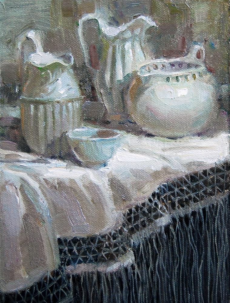 """White on White Challenge"" original fine art by Julie Ford Oliver"