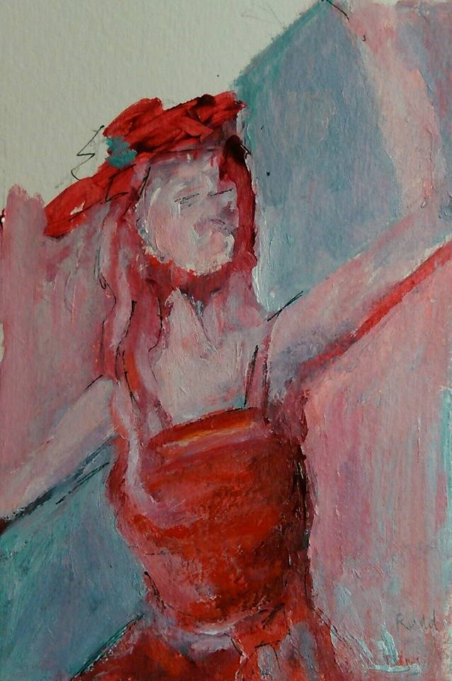 """I'll Wear the Red Dress Today"" original fine art by Ann Rudd"