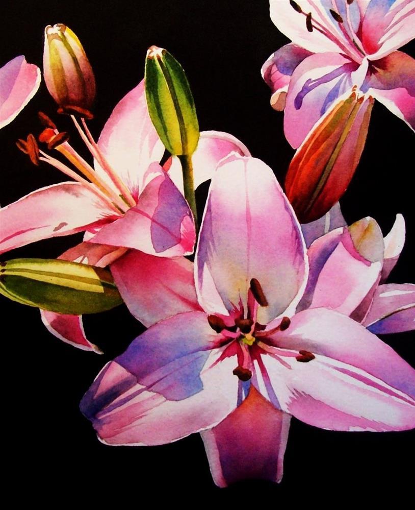 """Pink Asiatics"" original fine art by Jacqueline Gnott, whs"