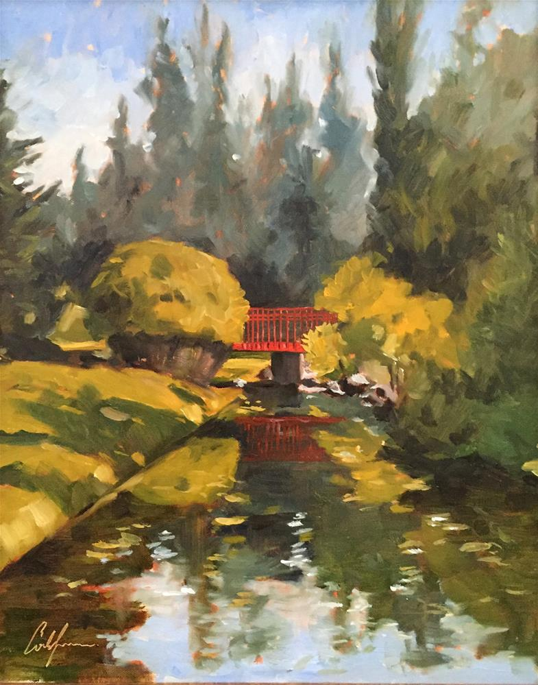 """Red Bridge, Dow Gardens"" original fine art by Cornelis vanSpronsen"