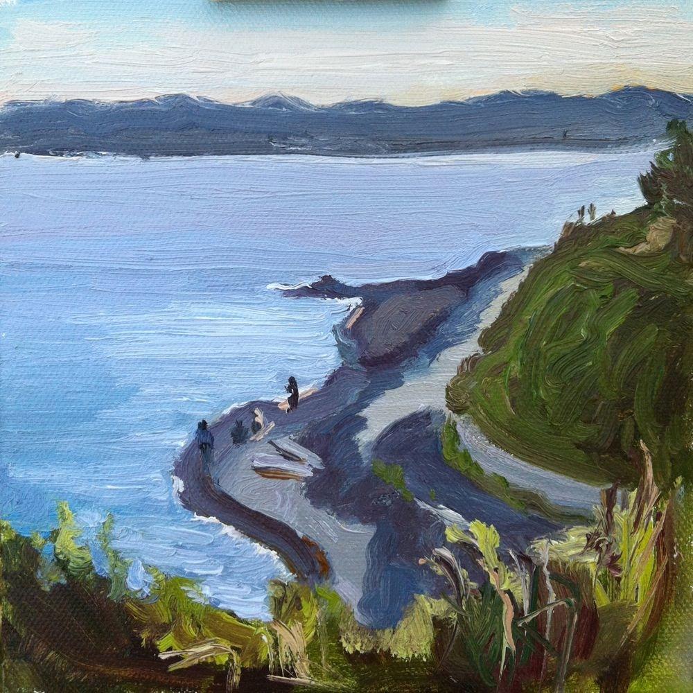 Fonyo Beach, oil on canvas board, 6x6 original fine art by Darlene Young